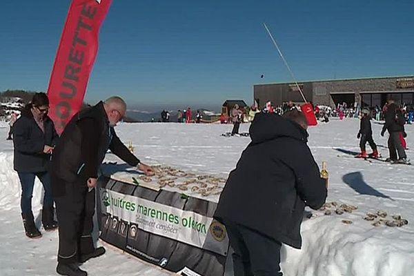 Gourette (Pyrénées-Atlantiques) - opération 2.400 huitres de Marennes Oléron à 2.400 mètres - 27 février 2019.