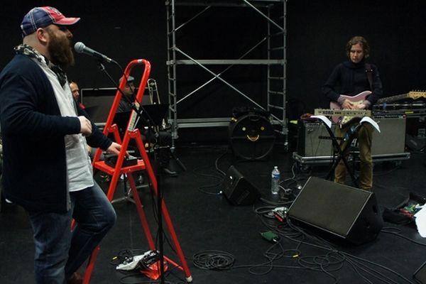 Thomas de Pourquery et Maxime Delpierre en répétitions la veille du premier concert de V!k!ng au Magic Mirror
