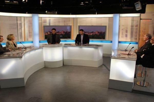Le plateau du débat des municipales à Carcassonne diffusé le 18 janvier 2014