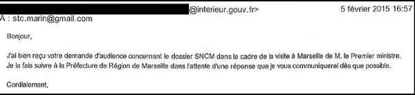 Dans un mail daté du 5 février, le cabinet du ministre accuse réception de la demande du STC de rencontrer le Premier ministre lors de sa visite à Marseille