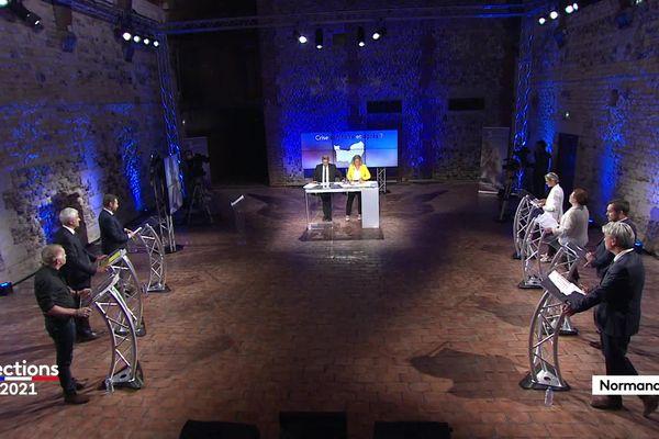 Les 7 candidats en lice pour les élections régionales 2021 en Normandie invité au grand débat du 1er tour sur France 3 Normandie.