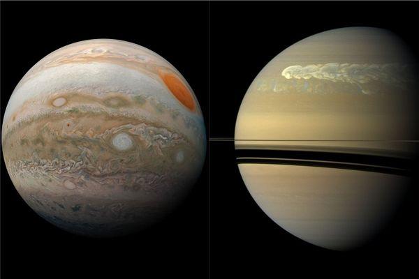 Jupiter (à gauche) et Saturne (à droite), photographiées de près par la Nasa, respectivement en 2019 et 2011.