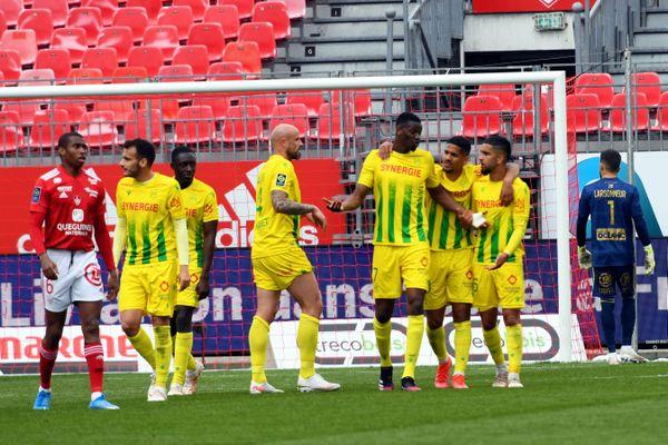 La joie des Nantais après avoir inscrit le quatrième but de la rencontre contre Brest le dimanche 2 mai 2021