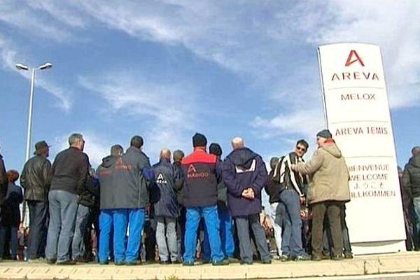 Codolet (Gard) - rassemblement des salariés de l'usine Melox de Marcoule - 12 février 2015.