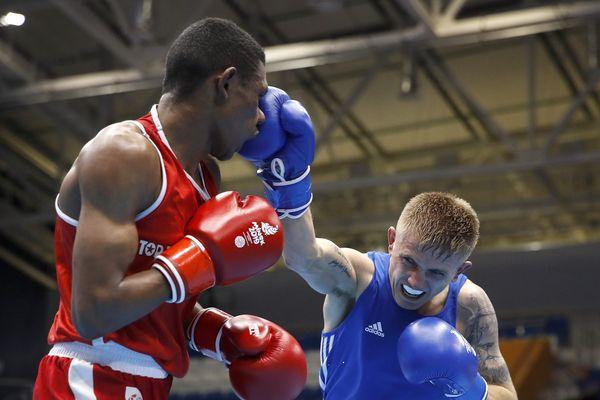 Samuel Kistohurry (gauche) face à Kirk Walker lors des European Games le 26.06.2019