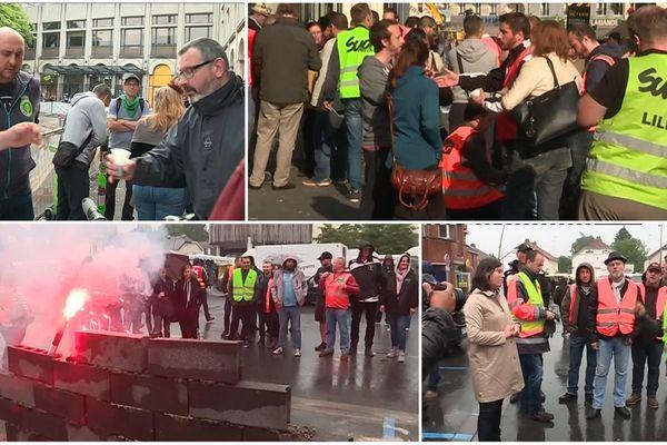 Opération séduction des cheminots autour d'un café à la gare Lille Flandres, échange musclé avec une députée LREM à Aulnoye Aymeries