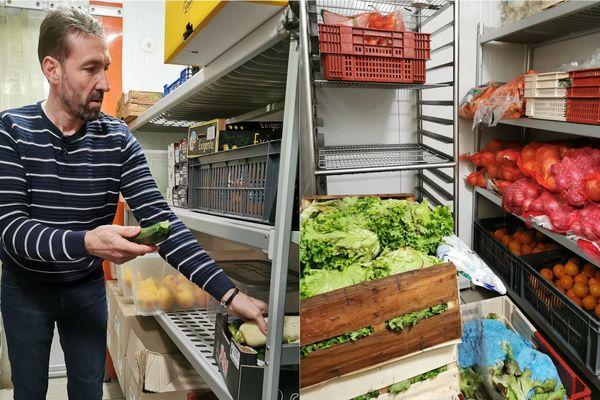 Au restaurant l'Apostrophe sur la place d'Erlon à Reims. Le propriétaire Jean-Luc Lazzarin nous montre les produits frais qu'il va perdre (légumes, fruits et viande).