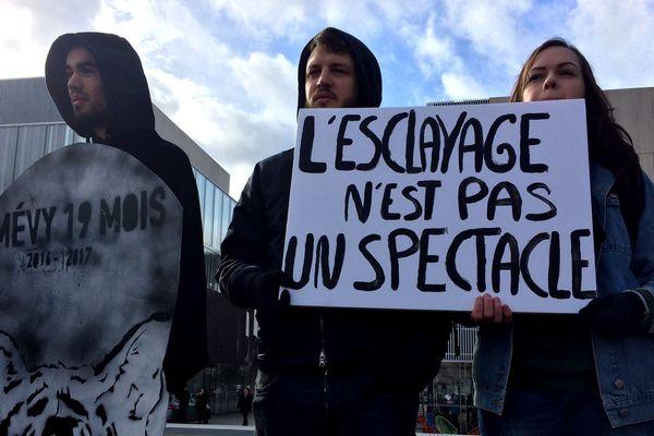 Des militants de la cause animale devant la cirque Bouglione au Mans, le 11 février 2018