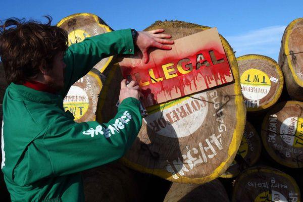 L'action symbolique de Greenpeace France, ce matin, dans le port de La Pallice (17)