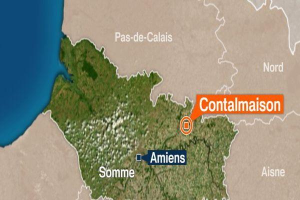 Carte de Contalmaison dans la Somme.