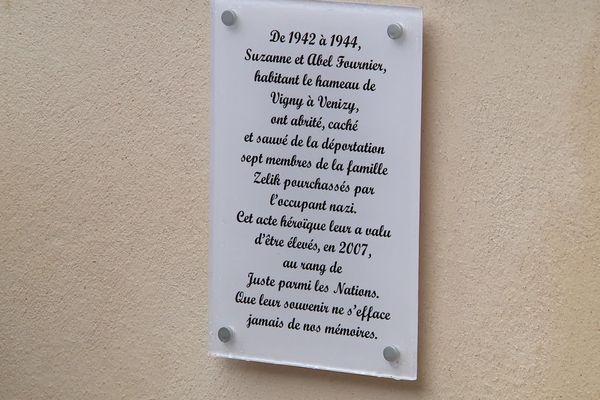 La plaque commémorative dévoilée ce vendredi 29 novembre