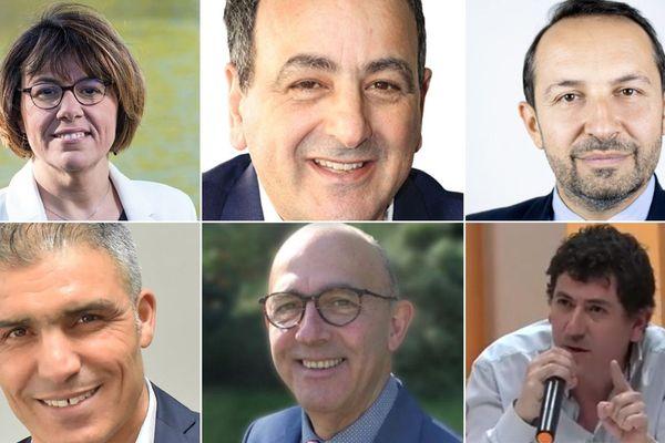 Du haut à gauche au bas à droite : Anne-Lise Dufour-Tonini (PS), Ahmed Habbar (DVG), Sébastien Chenu (RN), Djemi Drici (SE), Yvon Riancho (DVG) et Samy Tehami (LO) qui représente Jacky Boucot.