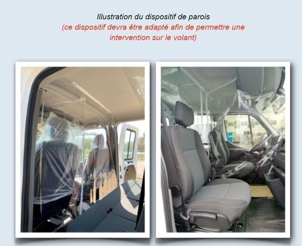 Un exemple de ce qui est proposé par le syndicat SANEER pour séparer l'élève et l'inspecteur du permis de conduire