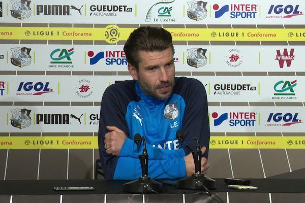 L'entraîneur de l'Amiens SC Luka Elsner en conférence de presse d'avant match vendredi 14 février 2020