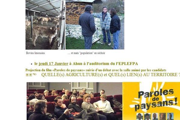 La Creuse à la une du site de la confédération paysanne du Limousin