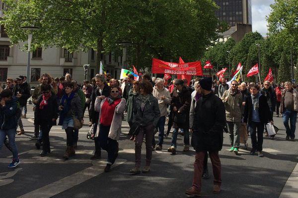 4 000 personnes ont défilé à Nantes ce 1er mai 2017 à l'appel de l'intesyndicale CGT, FO, FSU, Solidaires