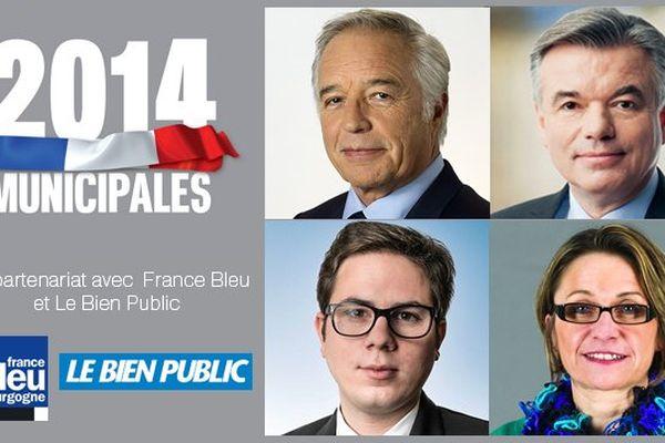 Le débat du 20 mars 2014 est le seul de l'avant-premier tour des municipales à Dijon à regrouper quatre des six principaux candidats en présence dans ce scrutin.