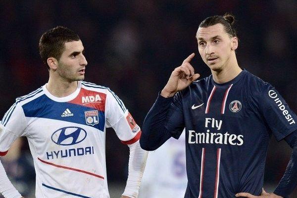 Maxime Gonalons, aux côtés de Zlatan Ibrahimovic, lors du match PSG - Lyon, le 16 décembre dernier.