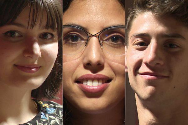 Camille Erhart, Haïfa Guedri et  Valentin Pizzolorusso, trois étudiants de Nice.