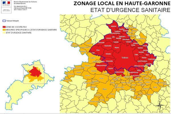 Le département de Haute-Garonne est divisé en 3 zones : rouge pour le couvre-feu, orange pour les mesures renforcées, et jaune pour l'état d'urgence sanitaire.