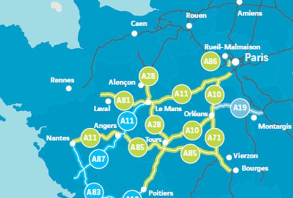 Le réseau Cofiroute, en jaune sur cette carte.