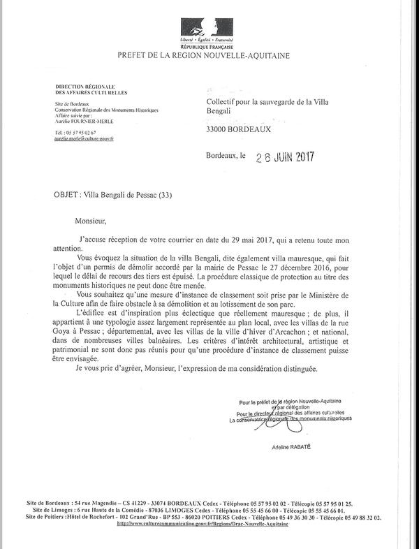 Lettre de la DRAC à propos de la villa Mauresque. Fallait-il la classer ?