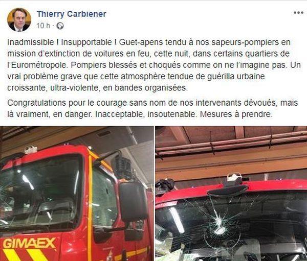 Thierry Carbiener, président du SDIS 67, rend hommage aux pompiers sur sa page Facebook