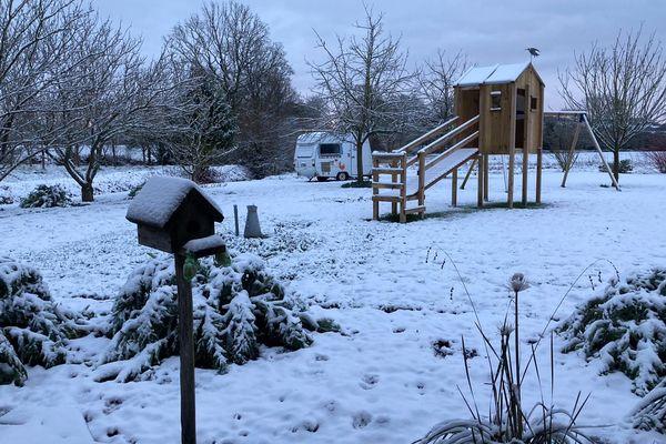 La Manche est placée en vigilance orange neige-verglas ce mardi 9 février 2021/ la neige à Neufmesnil dans la Manche