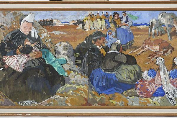 """""""Le Pardon de Notre-Dame de la Joie en Pays bigouden"""", tableau de 1925 de Mathurin Méheut est estimé entre 20 000 et 25 000 euros."""
