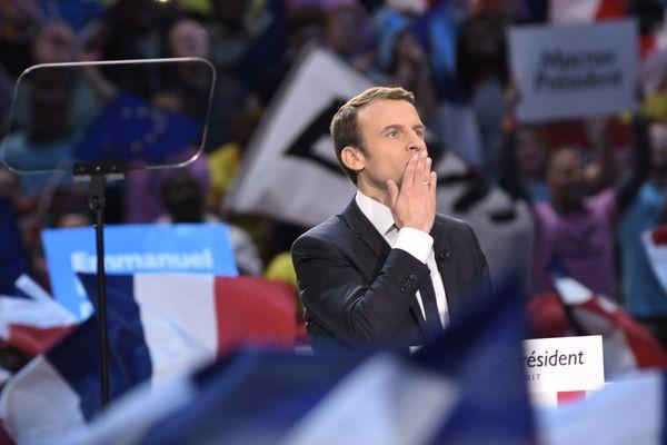 Emmanuel Macron lors de son meeting à Bercy, à quelques jours du premier tour de la présidentielle