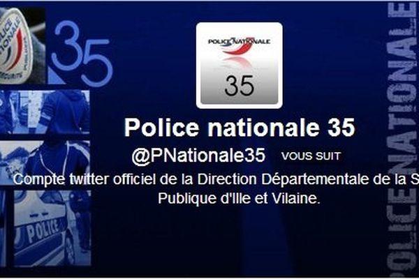 Visuel du profil Twitter de la police Nationale 35