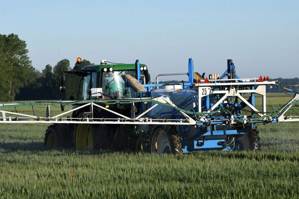 Un champ de céréales en cours de traitement aux pesticides