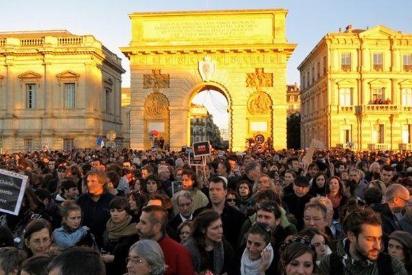 Manifestation pour Charlie à  Montpellier le 11 janvier 2015 (parc du Peyrou aux alentours de 17 h)