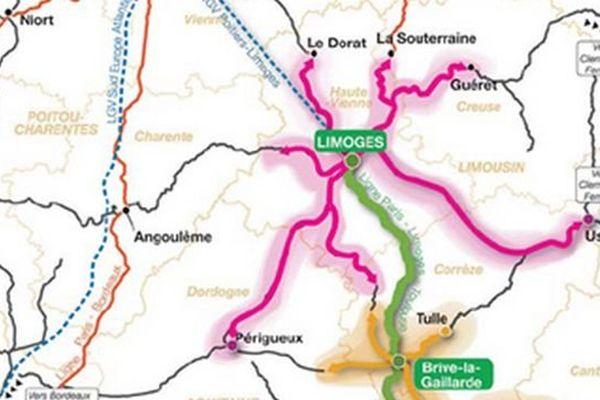 Diffusion de la grande vitesse ferroviaire ( carte publiée par l'association de promotion du TGV Poitiers-Limoges-Brive)