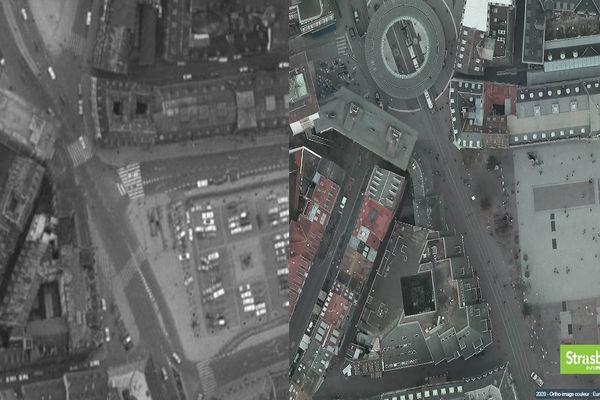 L'un des outils permet de visualiser et comparer différentes cartes et vues aériennes de Strasbourg réalisées à des époques différentes.