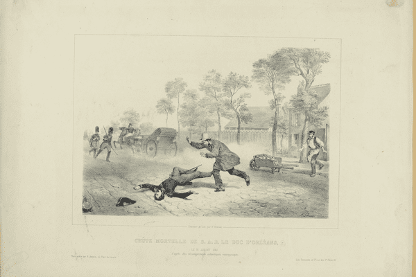 Musée Carnavalet-Histoire de Paris Grenier, François (lith.) Chûte [sic] mortelle de S.A.R. le duc d'Orléans le 13 juillet 1842 d'après des renseignements authentiques communiqués, 1842, Lithographie sur papier