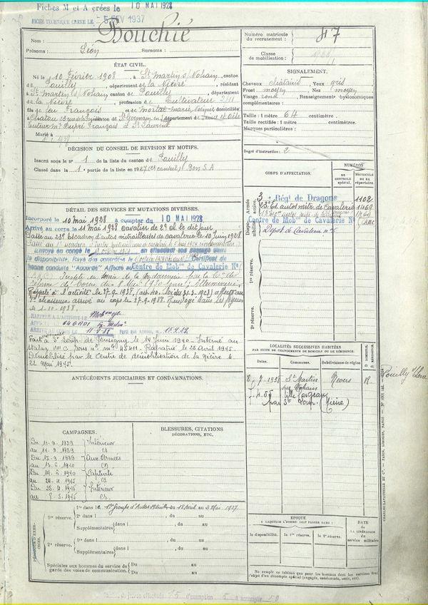 La fiche retraçant les états de service de Léon Bouchié au sein de l'armée.