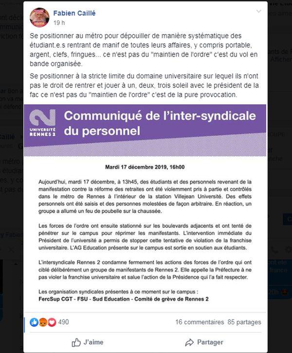 Le communiqué de l'inter-syndicale du personnel de Rennes 2 publié mardi 17 décembre.