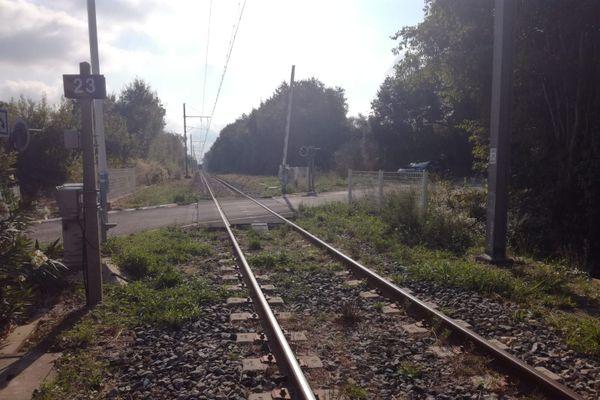Le drame a eu lieu en pleine campagne, entre les passages à niveau 23 et 24. La ligne venait de rouvrir, trois ans après l'accident de Millas, au n°25
