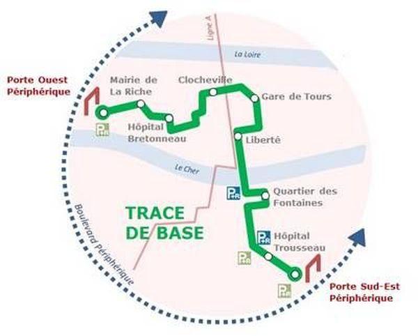 Le tracé de base de la ligne B du tram de Tours.