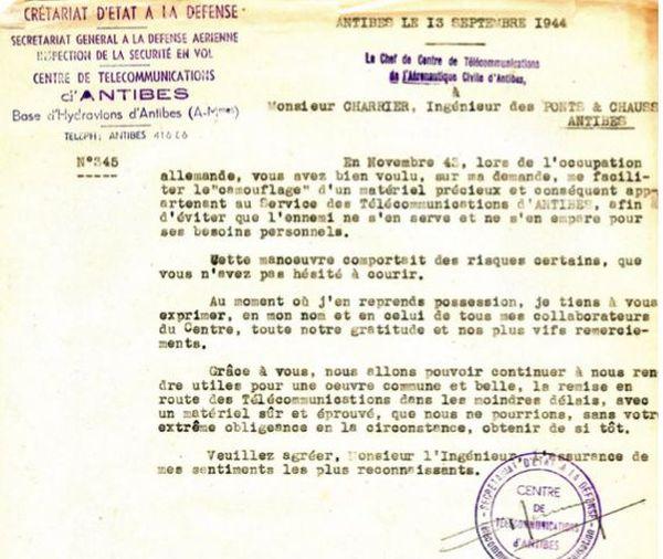 Lettre de remerciement d'Albert Terrusse à M. Charrier, Ingénieur des Ponts et Chaussées, pour lui avoir permis de cacher du matériel radio
