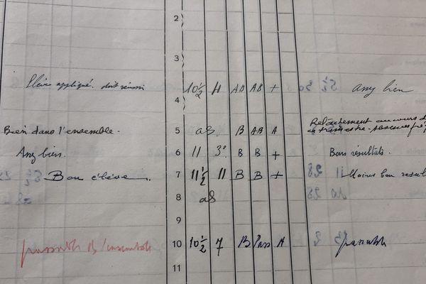 Un extrait d'un bulletin de terminale de Jacques Chirac, élève au Lycée Louis-le-Grand à Paris.