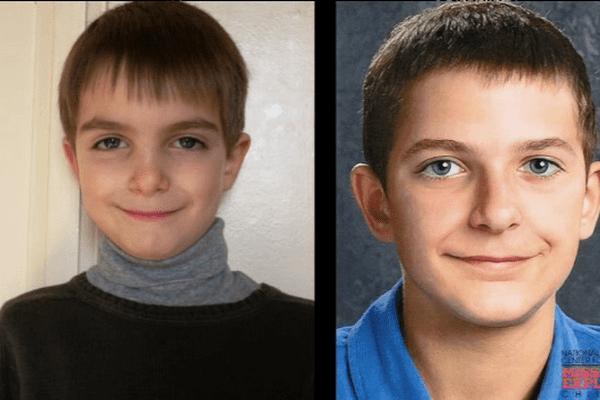 """A gauche, Mathis, âgé de 8 ans, avant sa disparition. A droite, une photo """"vieillie"""" créée par une association américaine."""