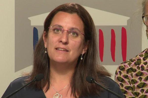 La députée de la Nièvre Perrine Goulet (LREM) lors de la présentation du rapport de la Mission d'information sur l'Aide Sociale à l'Enfance, le 3 juillet