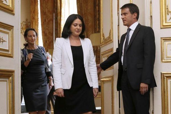 Sylvia Pinel avec Manuel Valls et Ségolène Royal