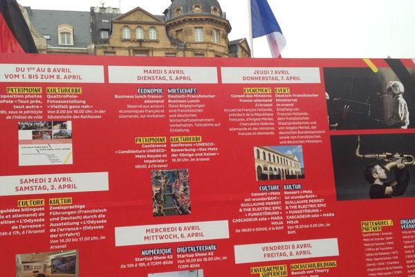Le programme de cette semaine franco-allemande, présenté sur le parvis de la gare de Metz (Moselle).