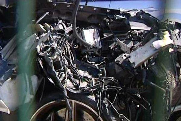 La voiture du trafiquant de drogue auteur de l'accident en juin 2013