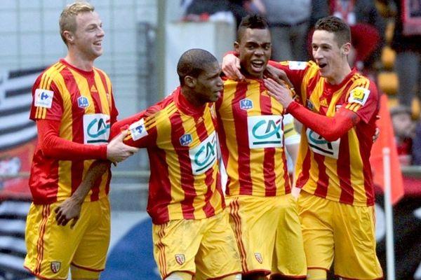 La joie des Lensois lors du tour précédent, victoire face à Rennes.