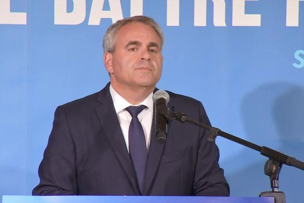 Xavier Bertrand lors de sa prise de parole durant le premier tour des élections régionales