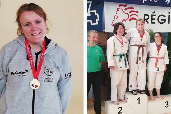 Amélie Gosse sacrée championne de France de judo sport adapté à Jurançon (Pyrénées-Atlantiques) le 28 avril 2019